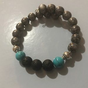 Jewelry - Turquoise/silver/gray lava bead diffuser bracelet